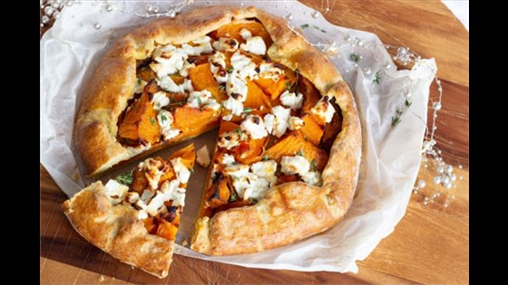 Pumpkin, Goats Curd and Thyme Tart Whole